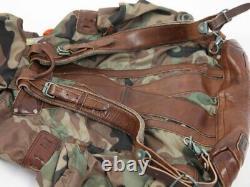 Polo Ralph Lauren Nylon Leather Camouflage Retro Camping Trekking Backpack Bag