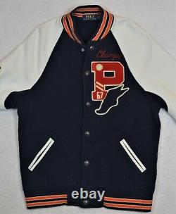 Polo Ralph Lauren PWING P67 Letterman Football Bulldog Bomber Jacket M NWT