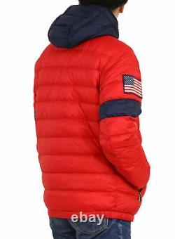 Polo Ralph Lauren Packable Down Jacket Coat with USA Flag on Sleeve Red with Navy