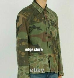 Polo Ralph Lauren Patchwork Military Army Camo Distressed Fatigue Shirt Jacket