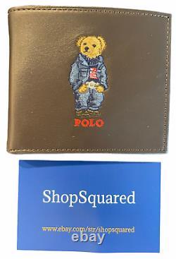 Polo Ralph Lauren (Polo Bear) Jean Jacket Bifold Wallet Brown Leather New NIB