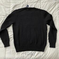 Polo Ralph Lauren Polo Golf Bear Crewneck Knit Sweater Black Size Medium NEW
