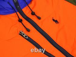 Polo Ralph Lauren Puffer Down Fleece Jacket Coat Orange/Olive/Blue