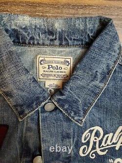 Polo Ralph Lauren RL Spartans Varsity Patch Denim Jean Jacket New WithTags Mens M