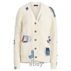 Polo Ralph Lauren Repair Stitch Patchwork Boyfriend Cable Knit Sweater Cardigan