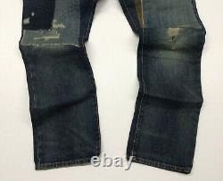 Polo Ralph Lauren Repaired Patchwork Distressed Shred Ripped Slim Straight Jeans
