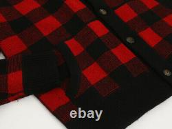 Polo Ralph Lauren Shawl Wool Blend Cardigan Sweater Plaid Check Red/Black