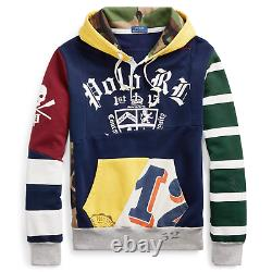 Polo Ralph Lauren Skull Skeleton Military Army Camo Patchwork Rugby Hoodie Royal