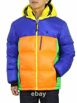 Polo Ralph Lauren Special Edition Hooded Down Puffer Jacket Coat Multicolor
