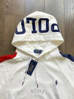 Polo Ralph Lauren Spell Out Hoodie Sweatshirt Sweater White New withTags Mens XXL