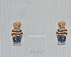 Polo Ralph Lauren Striped Cotton Teddy Preppy Bear 4 PC Queen Sheet Set New
