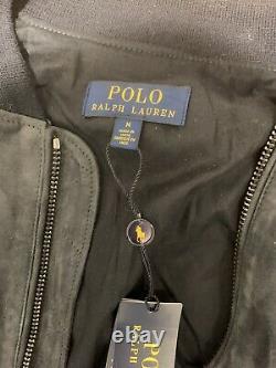 Polo Ralph Lauren Suede Bomber Jacket Men's Medium $898.00 Navy Blue