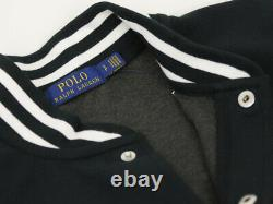 Polo Ralph Lauren Sweat Button-Up Baseball Jacket Jersey with P Black with Red