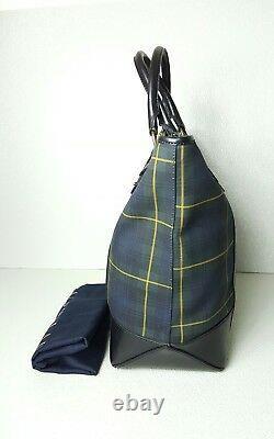 Polo Ralph Lauren Tartan Plaid Leather/canvas Large Tote Bag Unisex