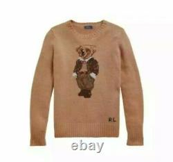 Polo Ralph Lauren Teddy Bear Camel Wool Sweater Size Medium