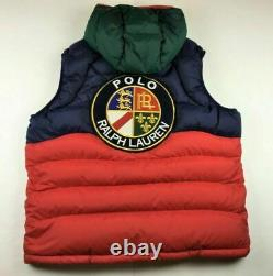 Polo Ralph Lauren VTG COOKIE PATCH Colorblocked Skier Hooded Down Jacket Vest S