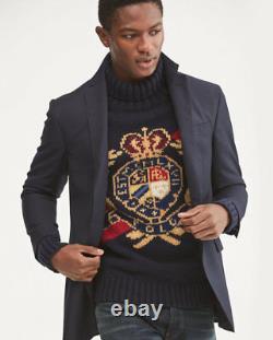 Polo Ralph Lauren VTG Retro 100% Wool Crest Crown Ski Turtleneck Knit Sweater 92