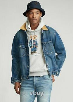 Polo Ralph Lauren VTG Retro Trucker Denim Jean Jacket Distressed Corduroy Collar
