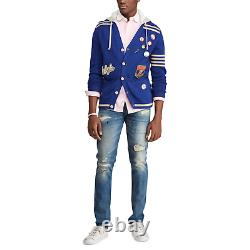 Polo Ralph Lauren Varsity Patchwork Hybrid Hooded Cardigan Sweater New $468