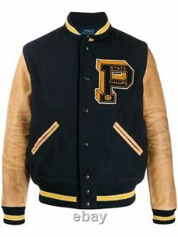 Polo Ralph Lauren Wool Leather PPatch Letterman Varsity Jacket Hi Tech CP93 L