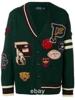 Polo Ralph Lauren Wool Patchwork Varsity Cardigan Sweater New $498