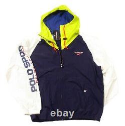 Polo Sport Ralph Lauren Men's Newport Navy Multi Logo Hooded Windbreaker Jacket