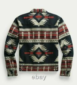 RRL Ralph Lauren 1930s Southwest Blanket Black Jacquard Overshirt Jacket L Large