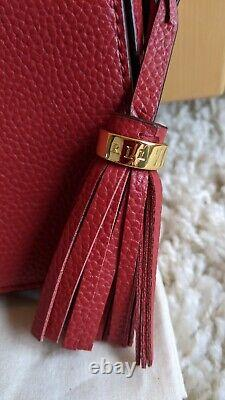 Ralph Lauren Bag Red Carmen Embroidered Leather Crossbody Bag New With Tags