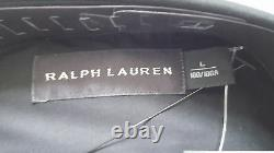 Ralph Lauren Black Label Stretch Cotton Black Military Shirt Sz L Made In Italy