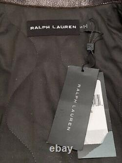 Ralph Lauren Black Label Sz Small Shearling Aviator Leather Jacket Made In Italy