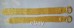 Ralph Lauren Collection Women's Gold Braided Leather Dress Belt Made In Italy