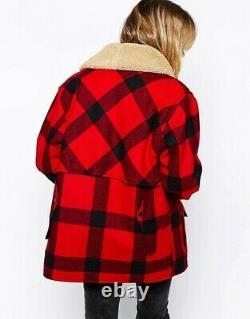 Ralph Lauren Denim Supply Shearling Collar Buffalo Plaid Tartan Wool Coat Jacket