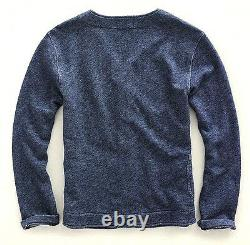 Ralph Lauren Double Rl Rrl Washed Indigo Blue French Terry Cardigan Sweater $295