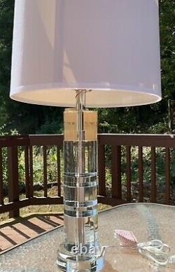 Ralph Lauren Farrah Cut Crystal Column Lamp Silk Shade Fabric With Outlet New