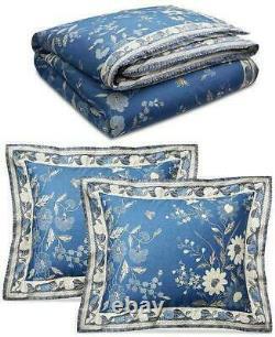 Ralph Lauren Josephina Bali Blue Cream Floral 3PC Full/ Queen Comforter Set New