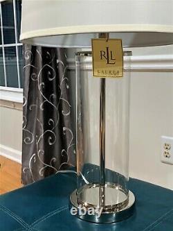 Ralph Lauren Payton Glass Silver Tube Cylinder Table Lamp Home Office Desk Lamp