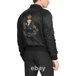 Ralph Lauren Polo Black Satin Martini Bear Souvenir Jacket M New $1795
