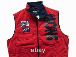 Ralph Lauren Polo Sz L Snow Beach Vest Red 1993 Pullover Stadium P Wing Rugby