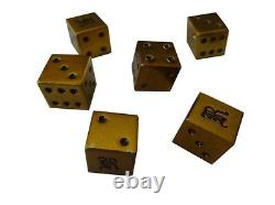 Ralph Lauren Rugby Brass Icon Dice with Silk Bag Collectable Polo Gambling Craps