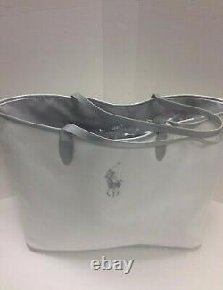 Ralph Lauren White Big Pony Canvas Medium Tote Gym Bag Weekender Travel Bag NEW
