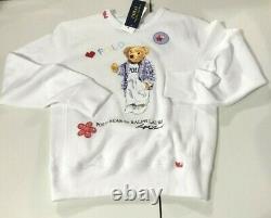 Ralph Lauren Women's SZ M White Polo Bear I Heart Fleece Pullover Sweatshirt