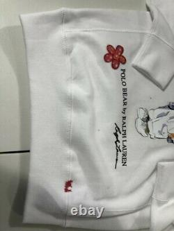 Ralph Lauren Women's SZ S White Polo Bear I Heart Fleece Pullover Sweatshirt