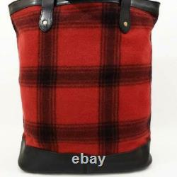 Rare Nwt $350 Ralph Lauren Rugby Wool Plaid Leather Trim Tote Bag
