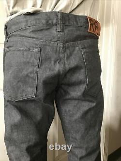 Rrl double rl new men japan woven Selvedge once wash denim Slim fit gray Jeans